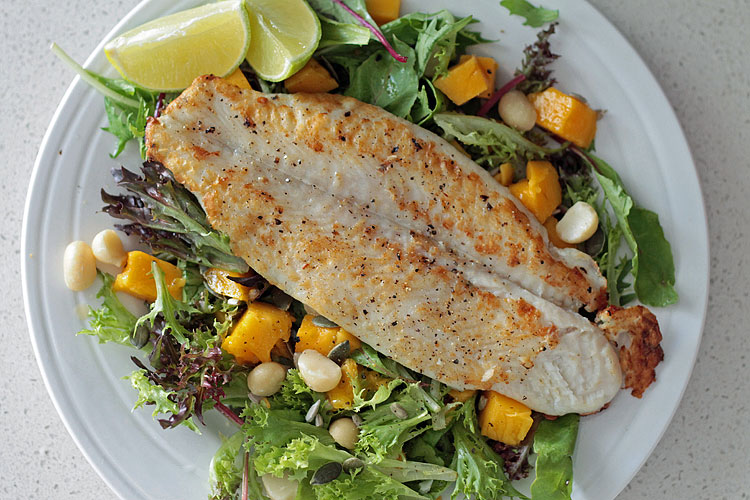Fast fish salad with mango and macadamia serves 2 fork for Fish and salad