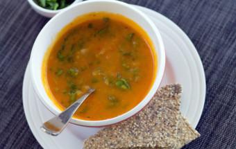 Curried pumpkin & lentil soup