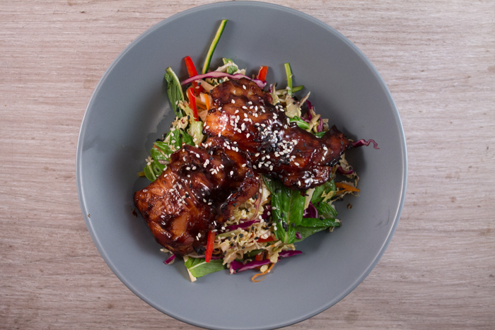 Sticky Chicken with Asian slaw and sesame dressing