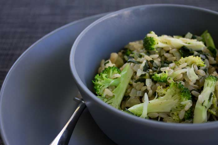 Broccoli, silver beet & feta with Brown Rice