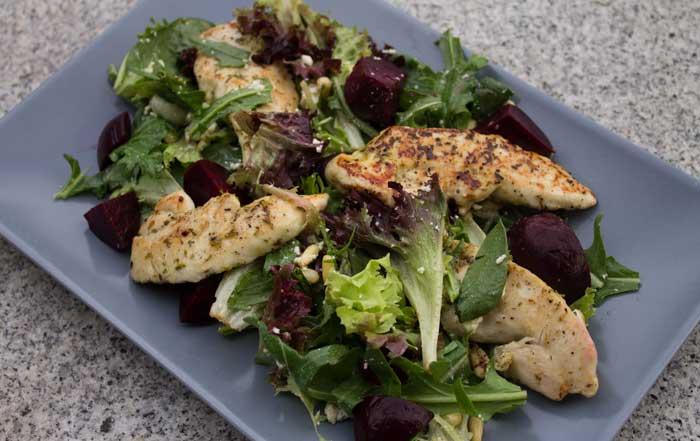 Chicken, beetroot & feta salad.